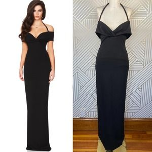 Nookie Athena Off-the-Shoulder Gown in Black